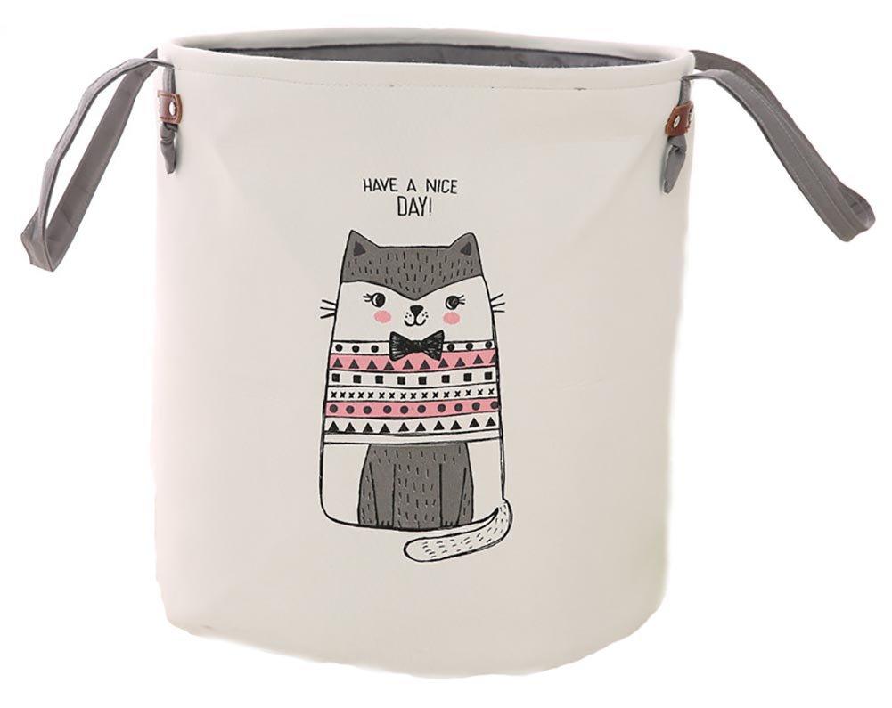 折りたたみ式ランドリーバスケット、Dirty布巾着ストレージビンおもちゃコレクションオーガナイザーwith 2つハンドル保育園子供の部屋  Gray Cat, 14.37\ B077GKK7L9