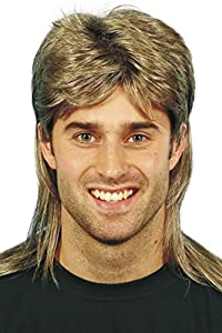 Smiffy's Men's Brown Mullet Wig with Blonde Highlights, One Size, 5020570421963