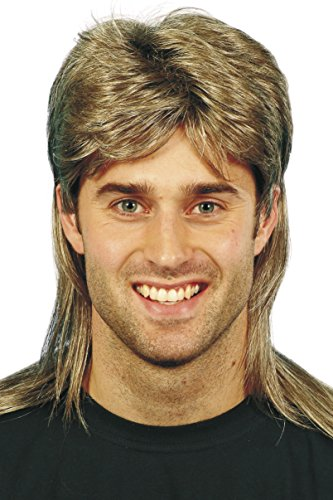 Mullet Wig Costume (Smiffy's Men's Brown Mullet Wig with Blonde Highlights, One Size, 5020570421963)