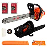 62CC 20' PETROL CHAINSAW + 2 x CHAINS - CARRY BAG - BAR COVER - TOOL KIT -...