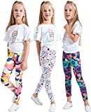 LUOUSE Kids Stretch Leggings Tights Girls Pants Plain Full Length Childrens Trousers, Age 4-13 Years