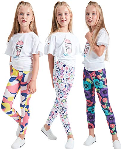 LUOUSE Girls Stretch Leggings Tights Kids Pants Plain Full Length Children Trousers, Age 4-13 ()
