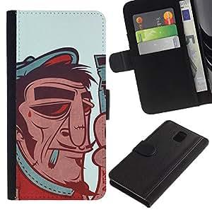 YiPhone /// Tirón de la caja Cartera de cuero con ranuras para tarjetas - Artista francés divertido del cartel del vintage - Samsung Galaxy Note 3 III