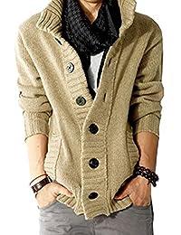 LANROON Men's Winter Warm Shawl Collar Knitted Cardigan Sweater