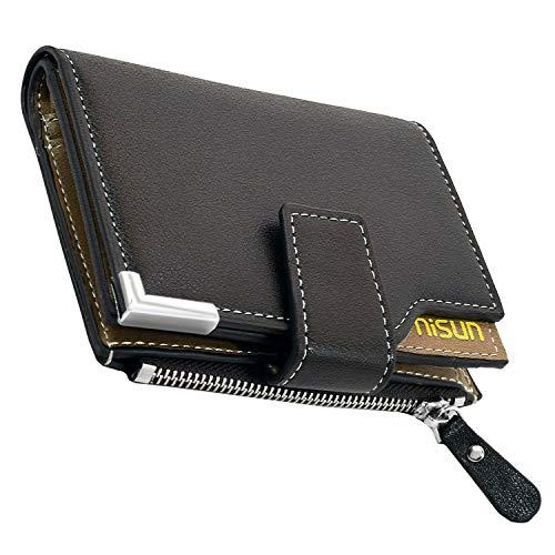 NISUN Men's 10 Slot PU Leather Credit Debit Zipper Card Holder Wallet (Dark Brown)