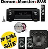 Denon AVRX2200W 7.2 Channel Full 4K Ultra HD A/V Receiver with Bluetooth and Wi-Fi + SVS Prime Satellite 2.1 High-Grade Polished Piano Black Finish System + Monster - Platinum XP Clear Jacket MKIII 50' Compact Speaker Cable - Clear/Copper Bundle