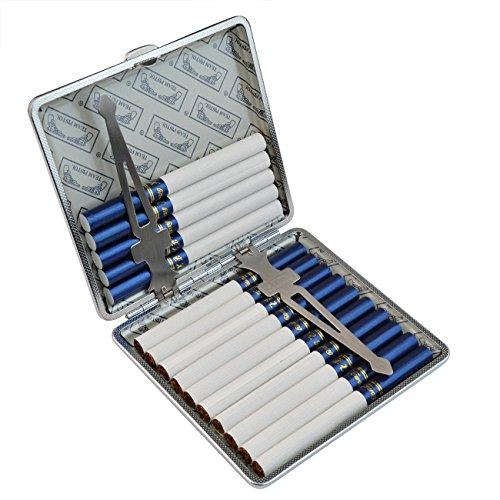 Cigarette Case Cigarette Holder - Pistha Black Metal Cigarette Tobacco Case Storage Box (Frame Cigarette Case)