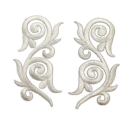 1 Pair Exquisite Flower Silver Lace Vintage Design Fashion DIY Applique Embroidered Sew Iron on Patch - Silver Design Fashion