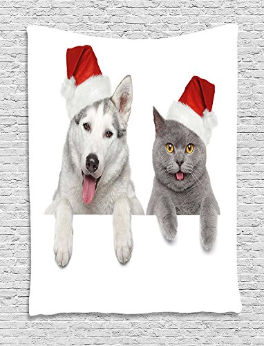 Christmas Tapestry, Cute Dog and Cat in Santa Red Hats Funny Puppy and Kitty Domestic Pet Animal, Wall Hanging for Bedroom Living Room Dorm, 60 W X 80 L Inches, White Grey Red by asddcdfdd