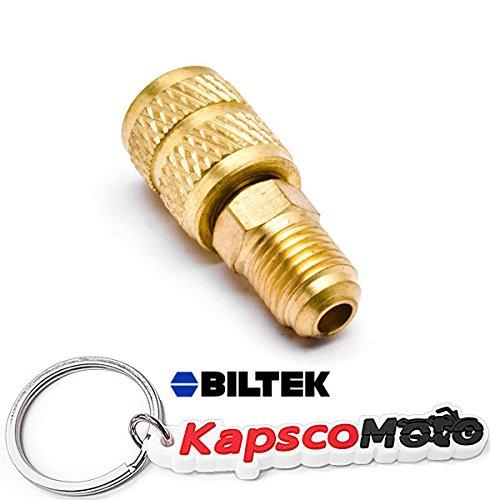 "Biltek 1/4"" Male SAE x 5/16"" Female SAE Swivel Adapter for R410a Mini Split HVAC System + KapscoMoto Keychain"
