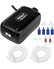 HIRALIY Aquarium Air Pump, Fish Tank Air Pump with Dual Outlet Adjustable Air Valve, Ultra Silent Oxygen Fish Tank Bubbler with Air Stones Silicone Tube Check Valves Up to 80 Gallon Tank