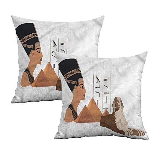 Khaki home Egyptian Square Kids Pillowcase Ancient Pyramids Landmarks Square Custom Pillowcase Cushion Cases Pillowcases for Sofa Bedroom Car W 14