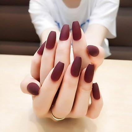 Jovono 24 uñas postizas de colores sólidos, color rojo, cobertura ...