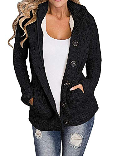 Yacooh Lined Hooded Womens Cardigan Sweaters Warm Jacket Fleece Cable Knit Open Front Hooded Button Down Sweater Coat (Medium, Black)