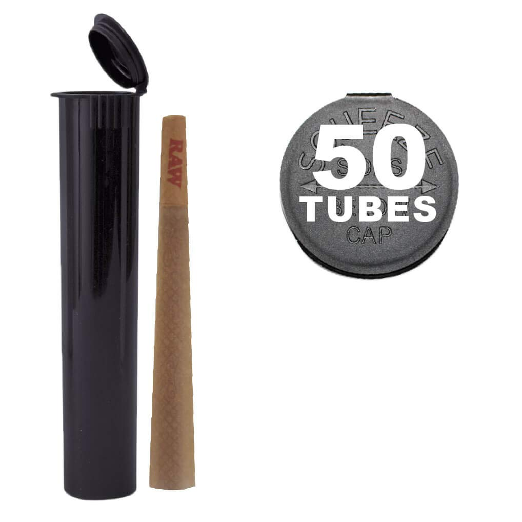 50 W Gallery 120mm Black Doob Tubes - Smell Proof Pop Top Joint Blunt Cigarette Storage Holder - BPA Free Plastic Stores King Size RAW Cones - 44116 + Bonus Bulk Pack - 120 mm replaces 116mm 116