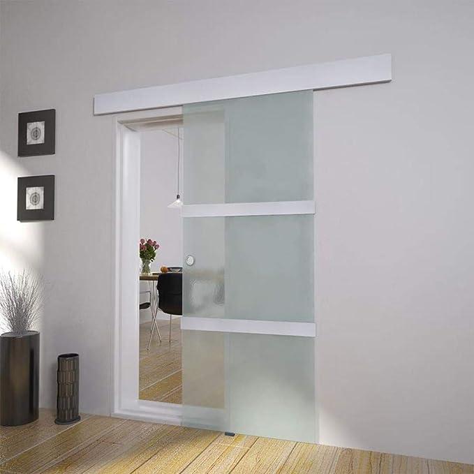 Wakects Puerta Corredera de Vidrio Cristal Translúcido o Satinado de 76 x 205 cm: Amazon.es: Hogar