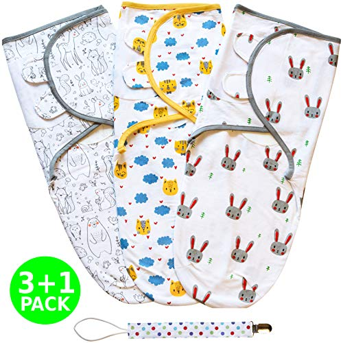 Swaddle Blanket, Baby Swaddle Wrap Sack for Infant (0-3 Month), Adjustable Newborn Swaddle Set, 3 Pack Soft Cotton with Bonus Pacifier Clip, Cute Animals