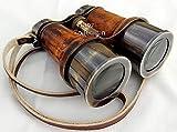Shaheera Nautical Antique Brass Binocular~Nautical Brass Telescope~Pirate Spyglass Leather Binocular Gift