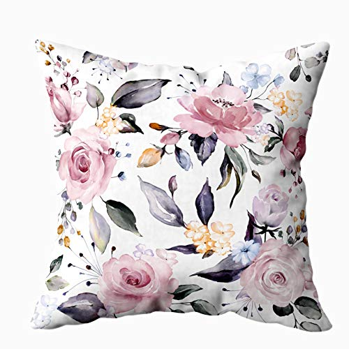 Musesh Blue Pillow Covers, Pattern with Spring Flowers and Leaves Background Floral Fabric Flower Rose Botanic Tile Wallpaper for Sofa Home Decorative Pillowcase 16X16Inch Pillow Covers