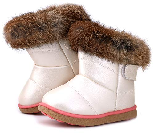 LONSOEN Toddler Girls Boots Fur Lined Winter Boots Shoes(Toddler/Little Kid)