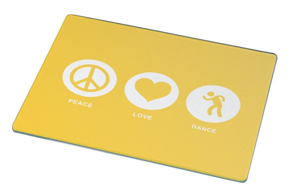 Rikki Knight Peace Love Dance Yellow Color Large Glass Cutting Board