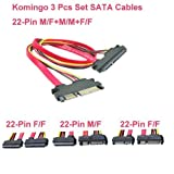Komingo Sold Computer Data Cable Power Cord Connecting Line Conversion Line Extended Line Replace Repair Kits (22-Pin SATA Extension Cable 3 Pcs Set)