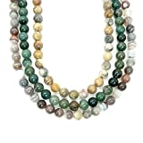 Agate Necklace 01 - Multi-Strand Botswana, Moss, Crazy Lace Trio Stone Layered