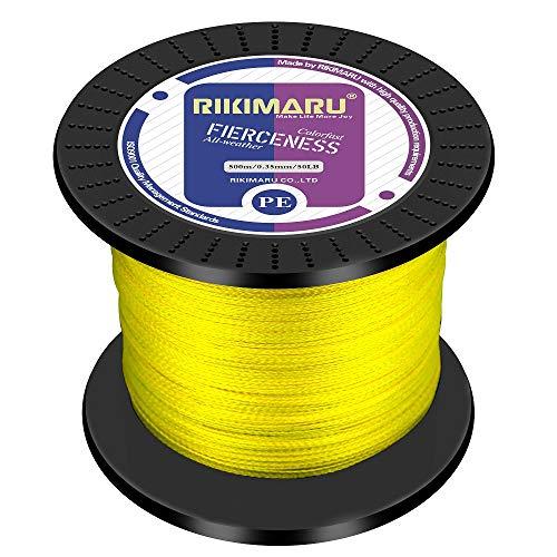 RIKIMARU Braided Fishing Line Abrasion Resistant Superline Zero Stretch&Low Memory Extra Thin Diameter Yellow 1094Yds,100LB