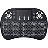 Wishpower 2.4GHz Backlit Mini Wireless Keyboard with Touchpad Mouse and Multimedia Keys for Android TV Box, Windows PC, HTPC, IPTV, Raspberry Pi and More (Mini Wireless Keyboard(Black))