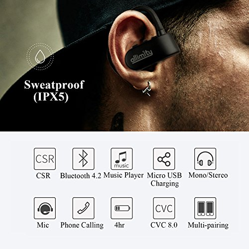 ALLIMITY Cable Free True Wireless Stereo Headphones Bluetooth V4.2 Hifi Earbuds with Mic for iPhone iPad Samsung Sony Over Ear Noise Cancelling Sweatproof Dual Mini Sports Cordless Earphones