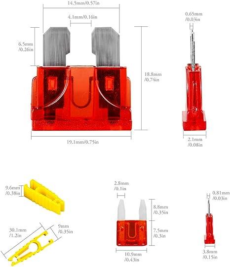 Mrcartool 40pcs Standard Kfz Sicherungen Set Auto Flachsicherungen Sicherungen Ersatz Sortiment Atc Atm 5 10 15 20amp Auto