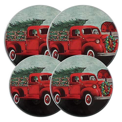 Old Red Design - Electric Stove/Range Burner Kover - Set of 4 (Christmas Stove Burner Covers)