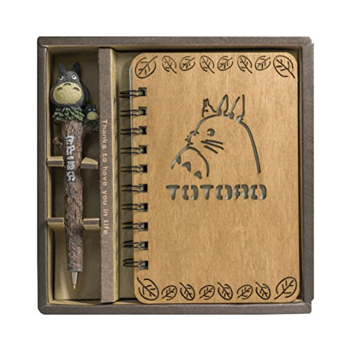Guritta My Neighbor Totoro Vintage Wooden Cover Notebook Journals Diary Sketchbook Study Spiral Writing Notebook Wonderful Creative Kids Gift for Totoro's Fan with Cute Anime Pen Set Hardcover (Cute Gifts For My Best Friend)