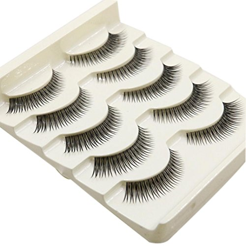 NewKelly 5 Pair Handmade Natural False Eyelashes