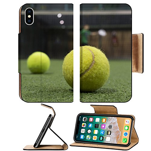 MSD Premium Apple iPhone X Flip Pu Leather Wallet Case Paddle balls in court IMAGE (Paddleball Case)