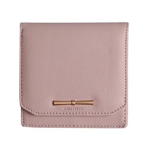 Prettyzys Leather Women Zipper Coin Purse Credit Card Holder Female Wallet For Girls Money Cluth (Dark Pink) -