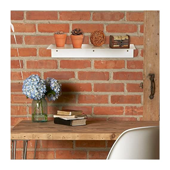 MyGift 17 Inch Modern White Metal Floating Shelf/Wall-Mounted Display Stand/Hanging Organizer Rack - A floating display shelf made of sturdy metal with a white finish. Easy to attach to any wall using appropriate mounting hardware (not included). Perfect for showing off picture frames, small potted plants, cherished keepsakes, and more. - wall-shelves, living-room-furniture, living-room - 51Od5Sr1ULL. SS570  -