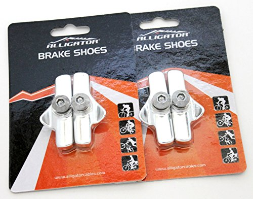 Brake Cable Campy (Alligator Bike Road Brake Cartridge Compatible Shoes Pads with Campy Campagnolo Brake (2 Pair), Silver)
