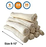 "123 Treats - Premium Rawhide Retriever Rolls For Dogs 8-10"" (24 Count) 100% All-Natural Grass-Fed Free-Range Hand Rolled Beef Rawhide High-Protein Healthy Chew Treats To Improve Pet Dental Hygiene"