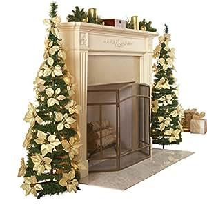 White Pull Up Poinsettia Christmas Tree