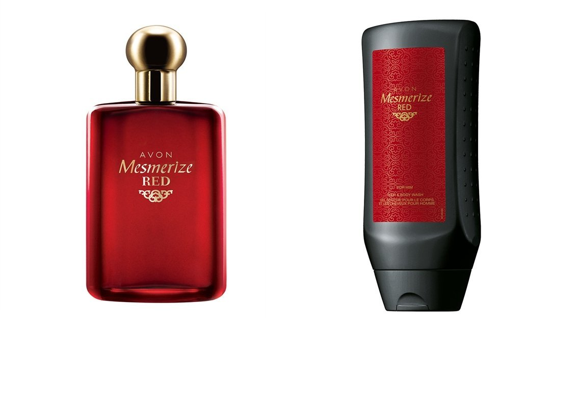 Avon Mesmerize Red for Him Eau De Toilette and Hair and Body Wash Gift Set Avon Cosmetics