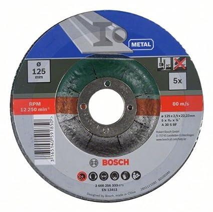 Bosch 2 609 256 333 - Juego de discos de tronzar de 5 piezas, acodado