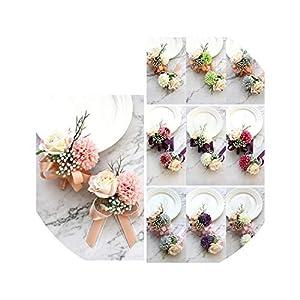1 Set Wrist Flower + Corsages Boutonniere Rose Bridesmaid Hand Flower Wedding Dance Silk Ribbon Artificial Flower Cuff Bracelets 52