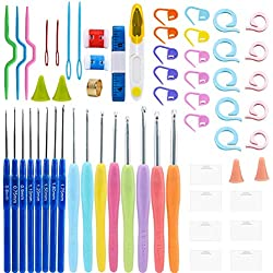 Soleebee All-in-One Crochet Hooks Set 60 Pcs Knitting Tool Accessories with Portable Case, Ergonomic Rubber Handle for Extreme Comfort (Set B)