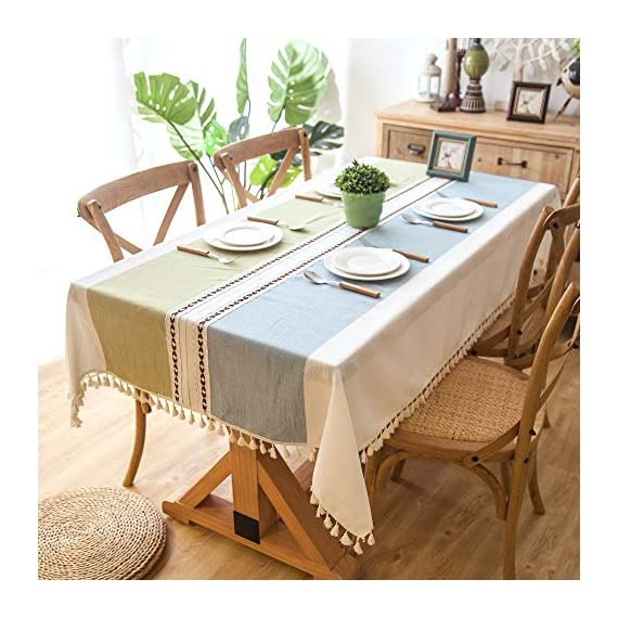 """Enova Home Elegant Rectangular Thicken Cotton and Linen Tablecloth with Tassels Dust Proof Table Cover for Kitchen Dinning Tabletop Decoration (Turquoise and Light Blue, 54""""x 78"""") - Composition: 90% Cotton 10% Linen Handmade/Hand-dyed by local skilled artisan in the middle of China Size:Approximately 54"""" x 78"""" Rectangle (140cm x 200cm) - tablecloths, kitchen-dining-room-table-linens, kitchen-dining-room - 51Od6Mzs2NL. SS570  -"""