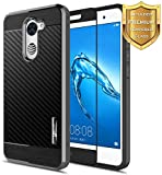 NageBee for Huawei Ascend XT 2 Case with [Full Cover Tempered Glass Screen Protector] [Frost Clear] [Carbon Fiber] Slim Soft Cover Case for Huawei Ascend XT2 H1711 / Huawei Elate 4G LTE -Black