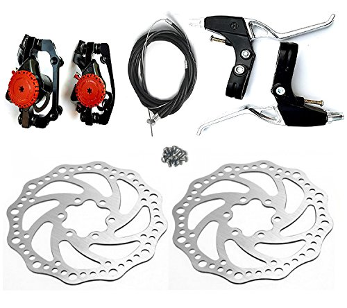 Star-Art Front and Back Disc Brake Kit - Aluminum alloy calipers, 2 Pcs stainless steel 160 mm Rotors & Cable & Brake Lever & 12 bolts, Freewheel Threaded Hubs Hole distance of 44mm (BB5)