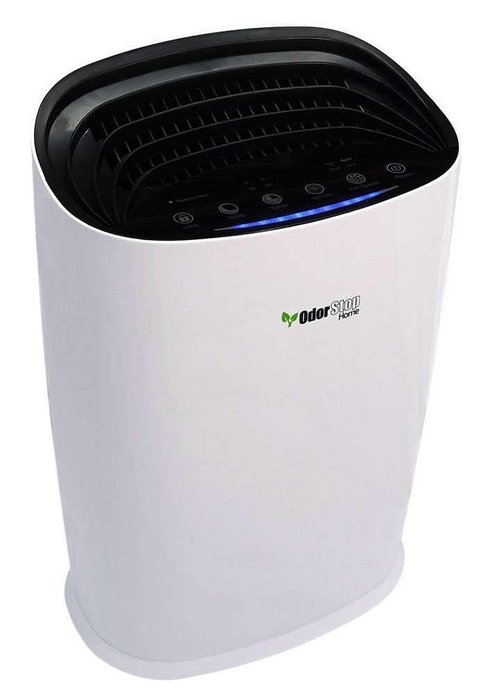 OdorStop HEPA Air Purifier with H13 HEPA Filter, UV Light, Active Carbon, Multi-Speed, Sleep Mode and Timer OSAP3600, Bright White