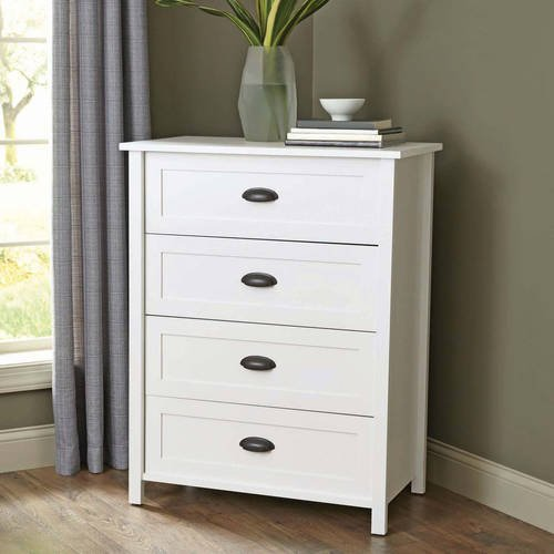 Better Homes and Gardens Engineered Wood Construction 4-Drawer Dresser in White Finish from Better Homes & Gardens