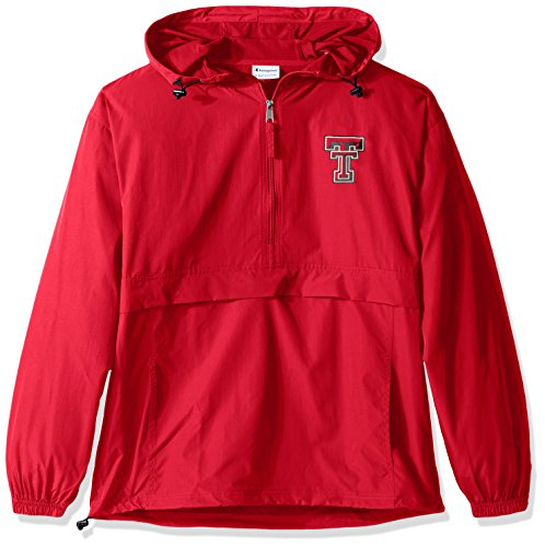 Champion NCAA Men's Half Zip Front Pocket Packable Jacket Texas Tech Red Raiders Large